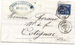 Var - N° 90 Obl Càd Type 18 Brignolles (septembre 1881) - Marcophilie (Lettres)