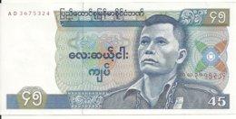 MYANMAR 45 KYATS ND1987 AUNC( Trou D'agraphe) P 64 - Myanmar