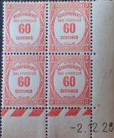 R1615/1166 - 1926 - T. TAXE - BLOC N°58 TIMBRES NEUFS** CdF Daté - Cote : 80,00 € - 1859-1955 Mint/hinged