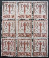 FRANCE Service N°8 En Bloc De 9 Sans Gomme - Briefmarken