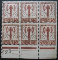 FRANCE Service N°8 En Bloc De 6 Sans Gomme - Briefmarken
