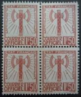FRANCE Service N°8 En Bloc De 4 Sans Gomme - Briefmarken