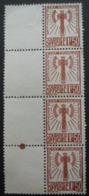 FRANCE Service N°8 En Bande De 4 Sans Gomme - Briefmarken
