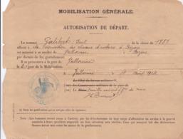 MOBILISATION GENERALE / AUTORISATION DE DEPART / 14.18 / GALIBERT / BEZIERS - 1914-18