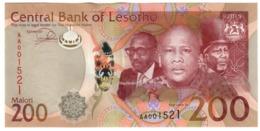 Lesotho 200 Maloti 2015 S/N AA UNC .PL. - Lesoto