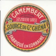 Etiquette De Fromage Camembert - Source Du Grand Chéna. - Fromage