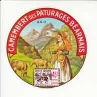 Etiquette De Fromage Camembert Des Paturages Du Béarnais. - Fromage