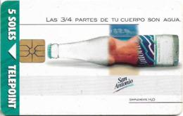 Peru - Telepoint - San Antonio Mineral Water, Gem1A Symmetric Black, 5Sol, Used - Peru