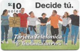 Peru - Telefónica - Ministerio De Salud, Gem1A Symmetric Black, 10Sol, Used - Perú