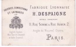 CARTE DE VISITE(SOIERIE_CONFECTION_LAINAGE) PARIS - Cartes De Visite
