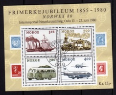 NORWAY NORGE NORVEGIA NORVEGE 1980 NORWEX EXPO STAMP EXHIBITION TRANSPORTS FOGLIETTO BLOCK SHEET FIRST DAY CANCEL FDC - Blocchi & Foglietti