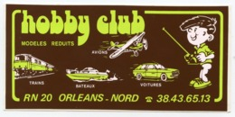 AUTOCOLLANT HOBBY CLUB MODELES REDUITS ORLEANS NORD - Pegatinas