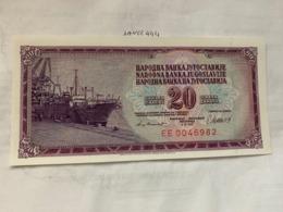 Yugoslavia  20 Dinara  Unc.  Banknote 1981 - Yugoslavia