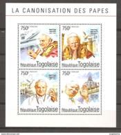 TOGO - 2014 Canonizzazione Di Papa GIOVANNI XXIII E Papa GIOVANNI PAOLO II Foglietto 4v. Nuovo** Papa Pope Papst Pape - Papas