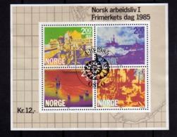 NORWAY NORGE NORVEGIA NORVEGE 1985 STAMP DAY BLOCCO FOGLIETTO BLOCK SHEET FIRST DAY CANCEL FDC - Blocchi & Foglietti
