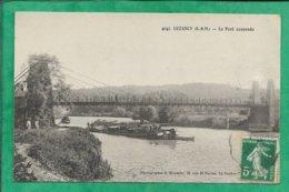 Luzancy (77) Le Pont Suspendu 2scans 1911 Carte Animée Péniche - Autres Communes