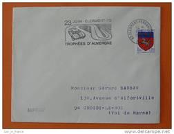 (rare) Flamme Postmark Trophees D'Auvergne 1968 Car Race Clermont Ferrand Puy De Dome - Automobile
