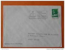 Flamme Postmark Festival Du Livre Book Festival 1975 Nice CT Alpes Maritimes - Marcophilie (Lettres)