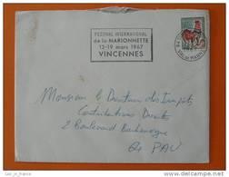 Flamme Postmark Festival Marionnettes 1967 Vincennes Val De Marne - Marcophilie (Lettres)