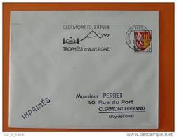 Flamme Postmark Trophees D'Auvergne 1966 Car Race Clermont Ferrand Puy De Dome - Marcophilie (Lettres)