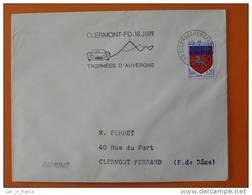 Flamme Postmark Trophees D'Auvergne 1967 Car Race Clermont Ferrand Puy De Dome - Marcophilie (Lettres)