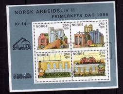 NORWAY NORGE NORVEGIA NORVEGE 1986 STAMP DAY BLOCCO FOGLIETTO BLOCK SHEET FIRST DAY CANCEL FDC - Blocchi & Foglietti