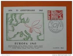 2 Carte Maximum Maxi Card Europa 1965 Strasbourg - Europa-CEPT