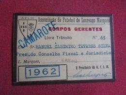 Mozanbique - Moçambique - Association De Football De Lourenço Marques - Associação De Futebol De Lourenço Marques 1962 - Tickets D'entrée