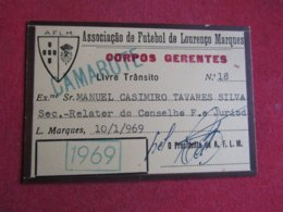 Mozanbique - Moçambique - Association De Football De Lourenço Marques - Associação De Futebol De Lourenço Marques 1969 - Tickets D'entrée