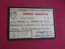 Mozanbique - Moçambique - Association De Football De Lourenço Marques - Associação De Futebol De Lourenço Marques 1971 - Tickets D'entrée