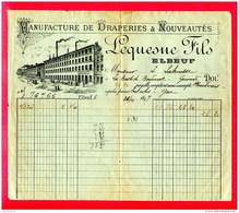 FACTURE (Réf : C428)  MANUFACTURE DE DRAPERIES & NOUVEAUTÉS  - LEQUESNE FILS - ELBEUF - France