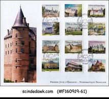 FRANCE - 2012 CASTLES AND STATELY HOMES / ARCHITECTURE - 12V FDC - FDC