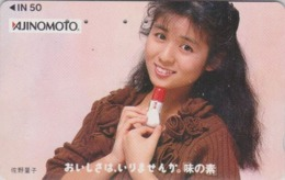 Télécarte Japon / 110-011 - FEMME Pub AJINOMOTO - ACTRESS GIRL Food Adv. Japan Phonecard - Knorr 6171 - Lebensmittel