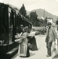 Italie Lac De Côme Menaggio Gare Train Ancienne Photo Stereo 1906 - Photos Stéréoscopiques