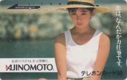 Télécarte Japon / 110-27155 - FEMME Pub AJINOMOTO - ACTRESS GIRL Food Adv. Japan Phonecard - Knorr 6174 - Advertising