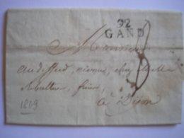 Departement Conquis - LAC Avec Marque 92 GAND Pour Dijon Du 8/03/1809 Et Taxe Manuscrite 8 - 2 Photos - Poststempel (Briefe)