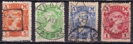 """GREECE 1902 Metal Value """"A M"""" 4 Values From The Set To 1 Dr. Vl. 193 / 196 - Gebruikt"""