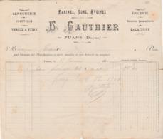 1901 / U. GAUTHIER / Farines Sons Avoines / Facture D'un Pain De Fromage / Epicerie / 25 Fuans Doubs - 1900 – 1949