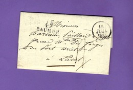 De Saumur LAC MARQUE POSTALE 47 SAUMUR Sign. Maçonnique Pour Laval MM. Bazouin Paillard & Collet Frères Maîtres De Forge - France