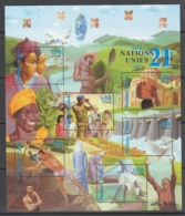 FEUILLET NEUF DES NATIONS UNIES GENEVE - LES NATIONS UNIES AU 21e SIECLE N° Y&T 409 A 414 - ONU