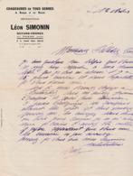 1943 / Facture + Enveloppe + Courrier / Léon SIMONIN / Chaussures / Guyans-Vennes Par Fuans / 25 Doubs - 1900 – 1949