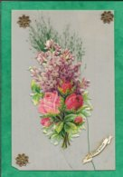 Celluloïd Bonne Année 1907 Découpis De Fleurs Collés Et Fleurs Vertes Séchées étoiles Dorées En Papier 2scans (fendue) - Cartoline