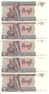 MYANMAR 5 KYATS 1996 UNC P 70 ( 5 Billets ) - Myanmar