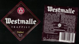 Belgique Lot 2 Étiquettes Bière Beer Labels Westmalle Trappist Dubbel - Bière