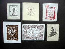 Sei Ex Libris A Stampa Illustrati A Colori Epoca Varia - Ex Libris