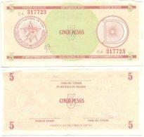 CUBA 1985 - SERIE D1 / 5 PESOS - FX29 - RARE FX CERTIFICATE BANKNOTE  -  VF - Cuba