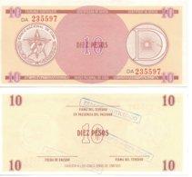 CUBA 1985 - SERIE D1 / 10 PESOS - FX30 - RARE FX CERTIFICATE BANKNOTE  -  AU- - Cuba