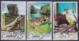 2019.61 CUBA 2019 MNH GEOGRAFIA Y AVES BIRD TOMEGUIN LIZARD FROG RANA BAYOYA IGUANA. - Ongebruikt
