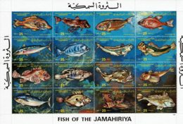 LIBYE - 1983 - Faune Marine - Fish Of The Jamahiriya - Bloc Feuillet Tp  Yvert N° 1160 à 1175 - Libia