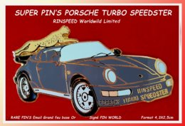 "SUPER PIN'S ""PORSCHE"" : Le SUPERBE PIN'S PORSCHE RINSPEED TURBO SPEEDSTER Avec FELIN émail GRAND FEU Or 4,3X2,5cm - Porsche"